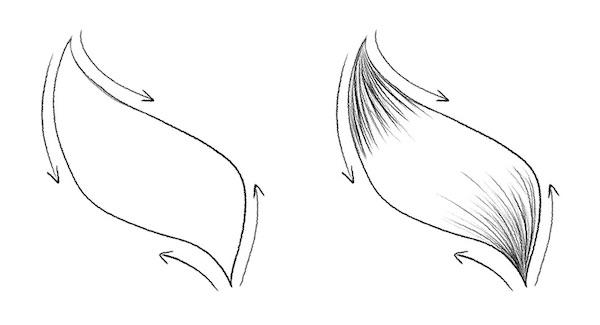Strähne zeichnen