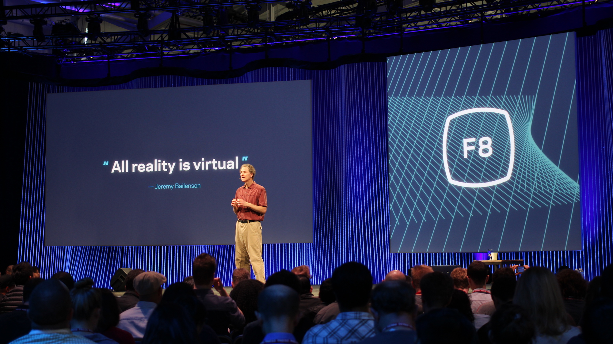 Oculus chief scientist Michael Abrash on stage at Facebook's F8 2015